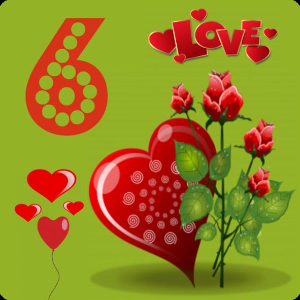 Zahl Nummer Number 6 Lettering alphabet, Valentine