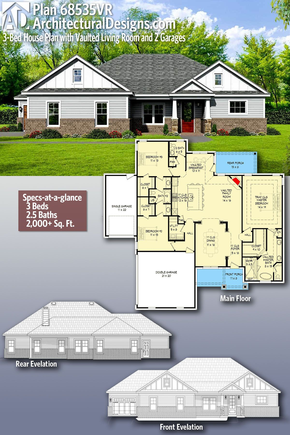 Plan 68535vr 3 Bed House Plan With Vaulted Living Room And 2 Garages Craftsman House Plans Architectural Design House Plans House Plans