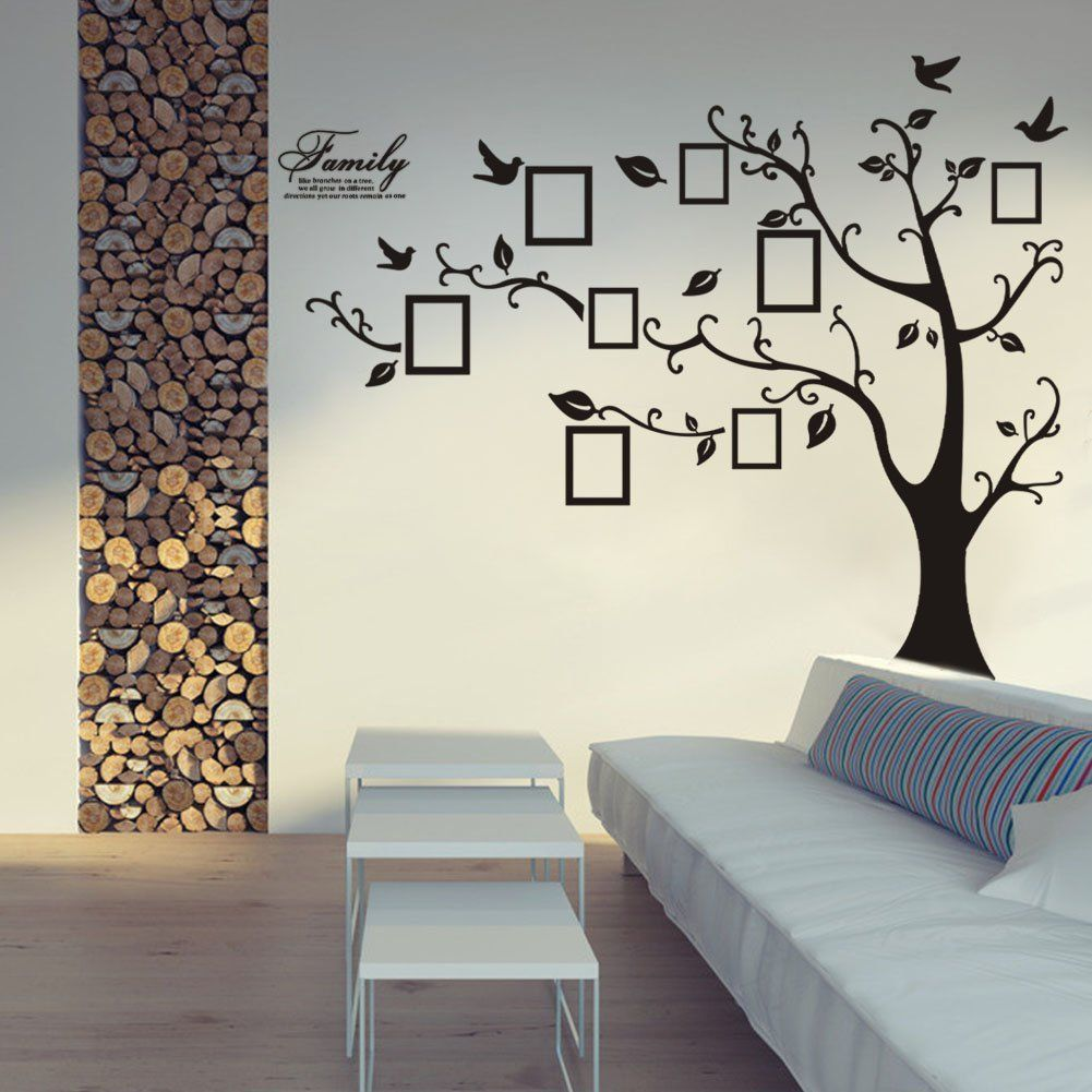 Wall decorationation stickers tree roselawnlutheran large size black family photo frames tree wall stickers diy home decoration wall decals modern art murals for living amipublicfo Choice Image