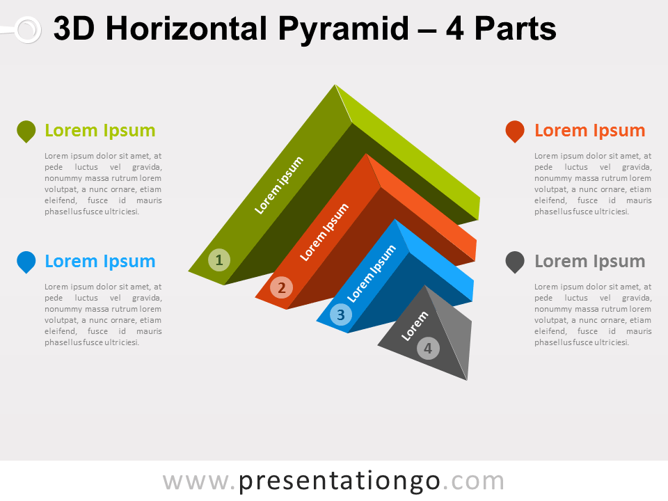 3d horizontal pyramid for powerpoint presentationgo template free horizontal pyramid diagram for powerpoint editable shapes with text placeholder 4 part diagram that illustrates 4 ideas or as a conversion process ccuart Images