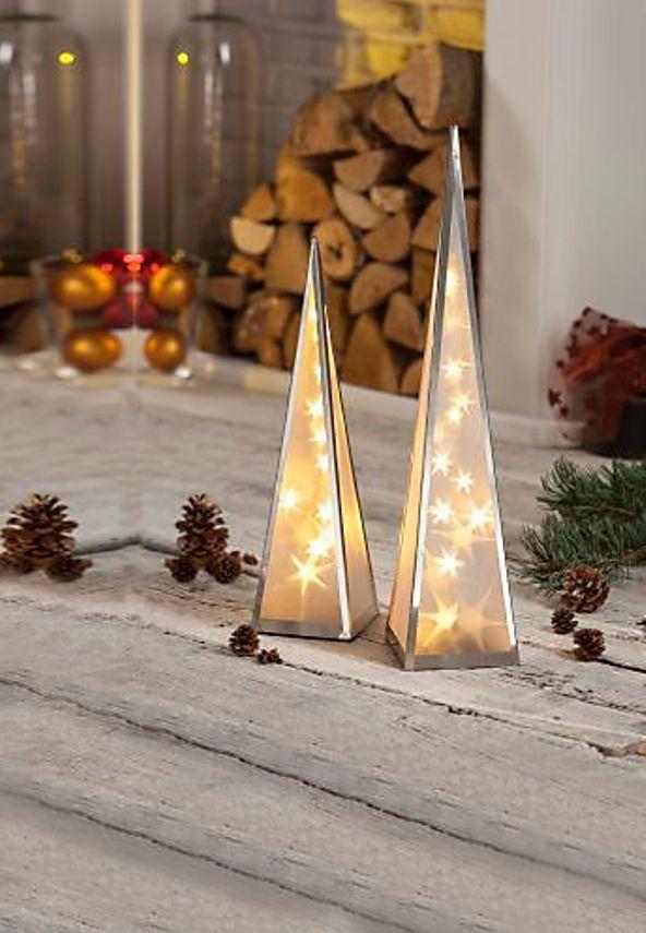 Weihnachtsbeleuchtung Kegel.Leuchtkegel Mit Hologramm 60 Cm 20 Warmweißen Leds
