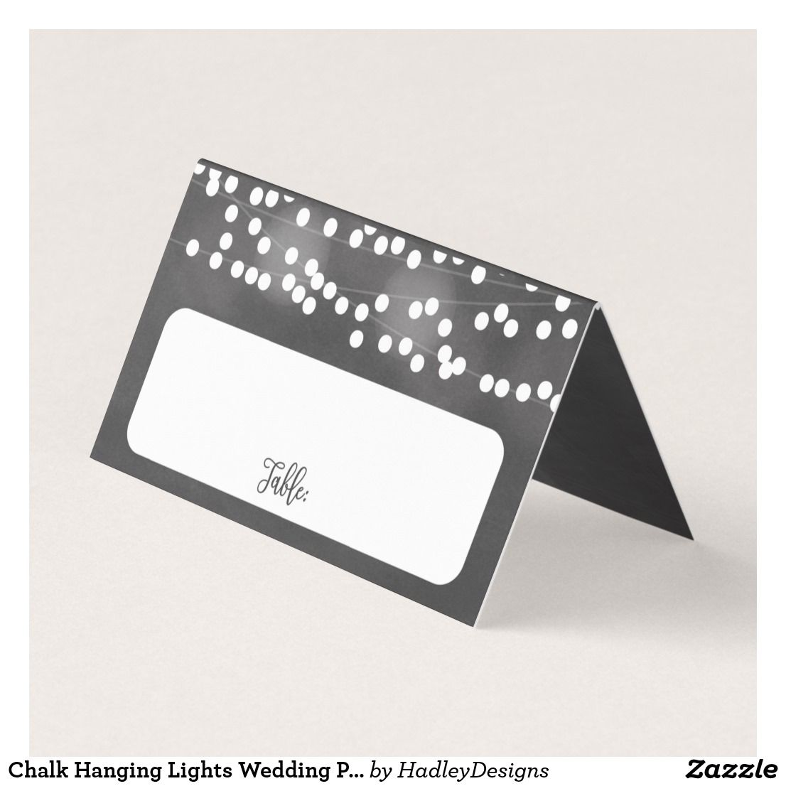 Chalk Hanging Lights Wedding Place Cards | Zazzle Stationery ...