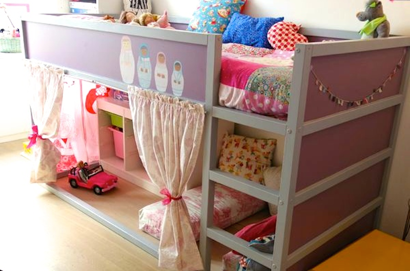 Ikea hackers lit kura mezzanine enfant id e diy customisation avant apr s bab - Tablette de lit ikea ...