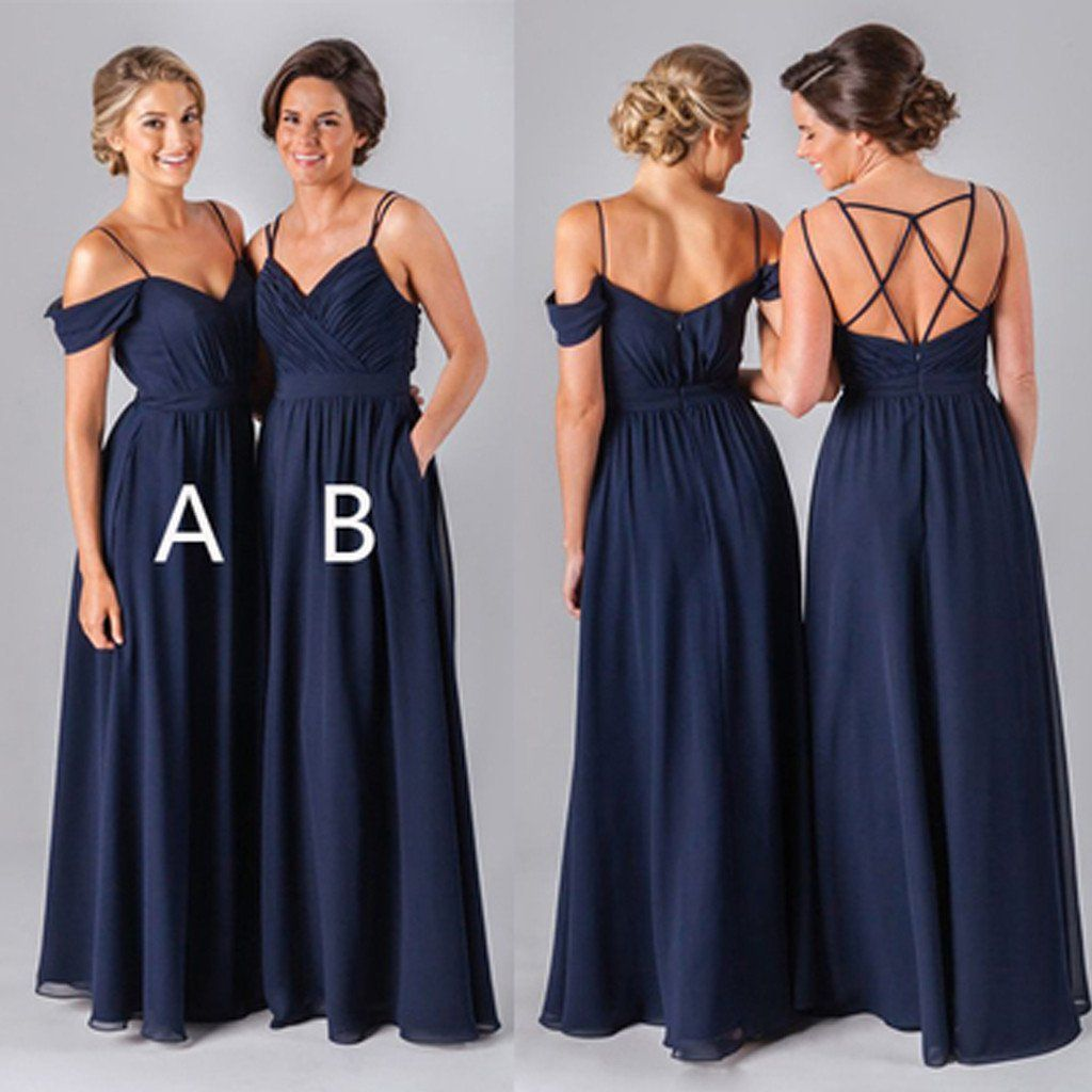 Mismatched different styles chiffon navy blue floorlength a line