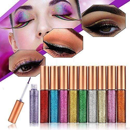 10 Colour Glitter Eyeliner, Glitter Eyeliners Set, Long Lasting Waterproof Glitter Liquid Eyeliner