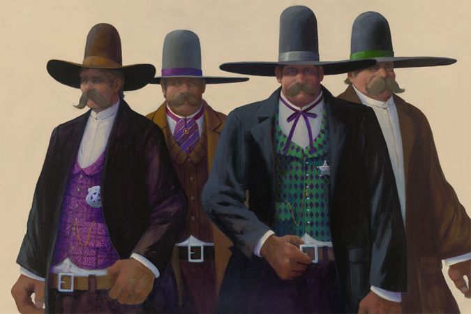 "We saw this artist out in Sedona a few years ago, and I am in love with his cowboy art.  This one is ""The Earps.""  Would be suitable, since our son is Wyatt!"