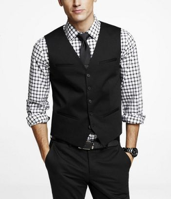 Black cotton sateen suit vest. Black thin-lined plaid long-sleeved collared  shirt