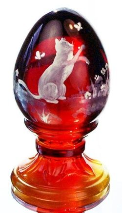 My dream is to have a Fenton egg.......this one is so me....red, butterfly and a kitty