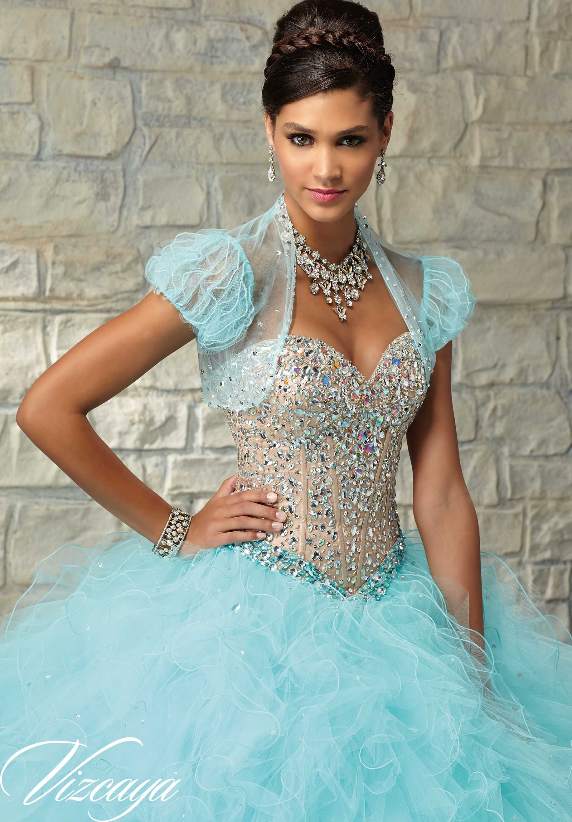 Quinceanera Dress 89030 Two-Tone Satin and Tulle with Beading ...