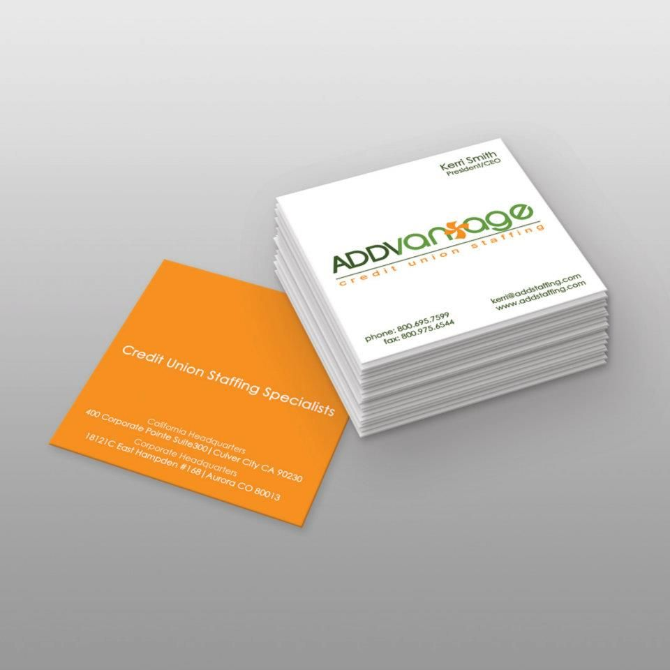 Addvantage Credit Union Staffing - Business Card Design | I made ...
