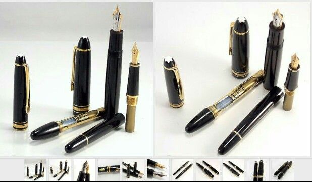 2 Authentic Montblanc Meisterstuck 4810 Black Resin Fountain Pens W 14k Gold Nib Fountain Pen Pen 14k Gold