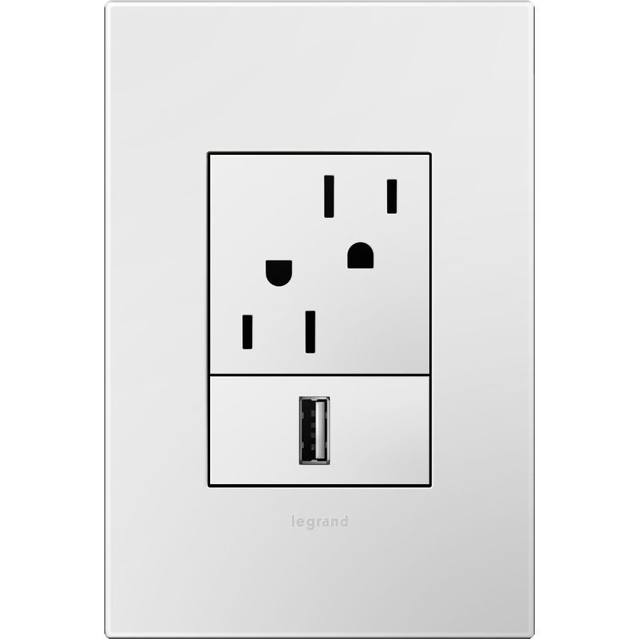 Lowes Wall Plates Legrand Adorne Awp1G3Wh4 1Gang Gloss White Square Plastic Wall