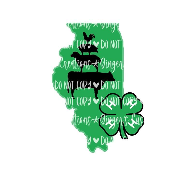 Illinoise 4h sublimation design download png for transfer