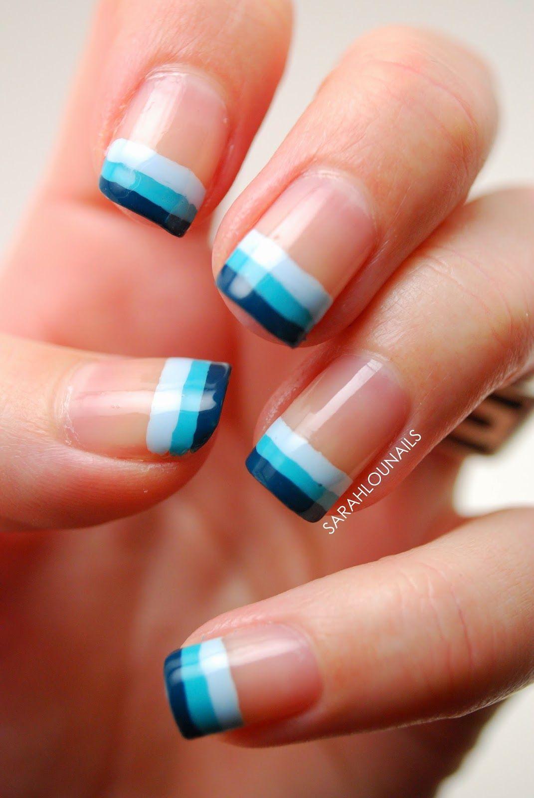 Sarah Lou Nails #nail #nails #nailart ... dark blue, light blue ...