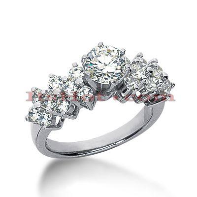 14K Gold Designer Diamond Engagement Ring 1.40ct