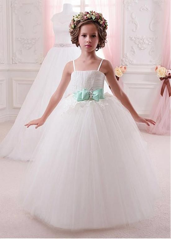e8cfae9100d Buy discount Lovely Tulle   Satin Spaghetti Straps Ball Gown Flower Girl  Dresses With Lace Appliques at Dressilyme.com