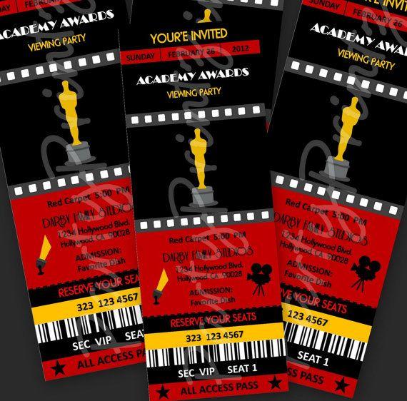 Printable Academy Awards Oscars Party Event Ticket by PartyPrintz - movie themed invitation template
