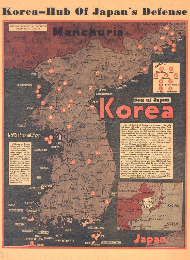 1940 pre-World War II map of Korean peninsula Ephemera Pinterest - copy map japan world war 2