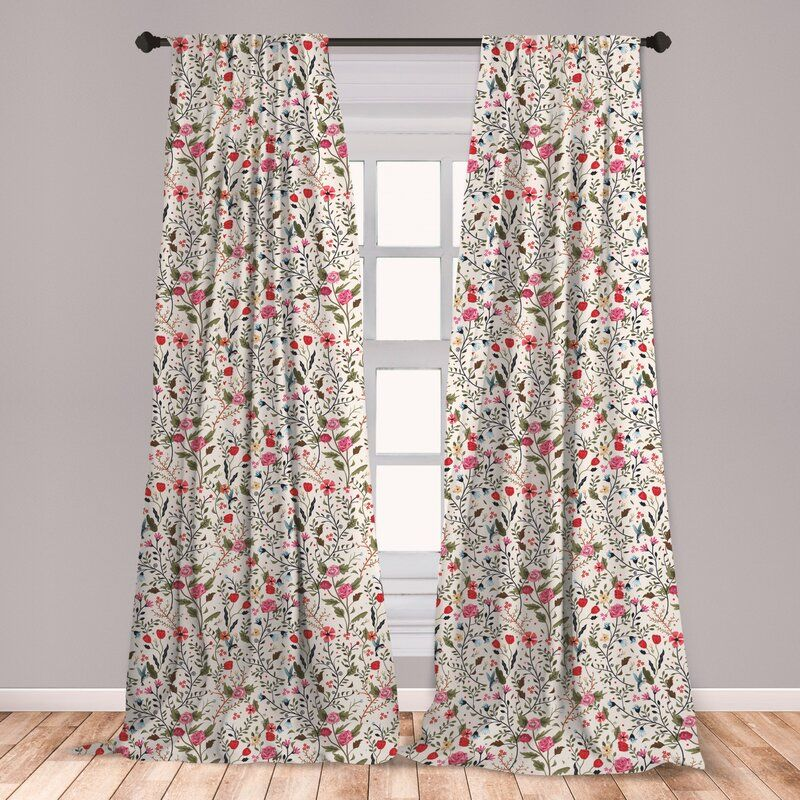 East Urban Home Floral Room Darkening Rod Pocket Curtain Panels Wayfair Floral Room Rod Pocket Curtain Panels Rod Pocket Curtains