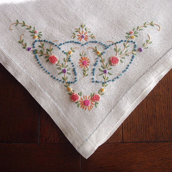 The Butterfly And The Pig: Embroidered tablecloths