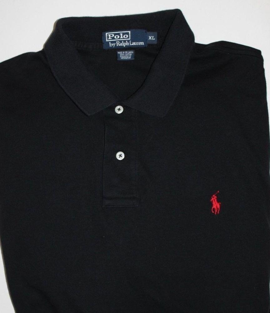 MENS BLACK POLO RALPH LAUREN SOFT COTTON SHIRT GOLF RED PONY XL ...