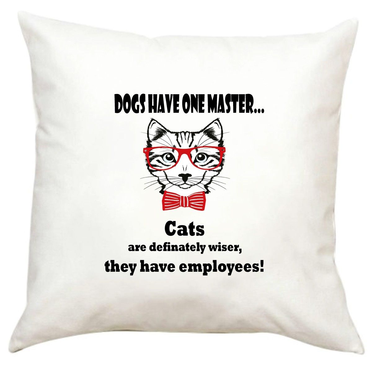 Funny white printed pillow with zipper easy to wash