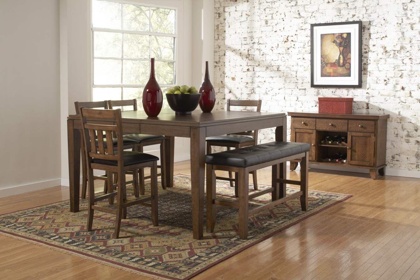 Kirtland Warm Oak Counter Height Bench Home Elegance