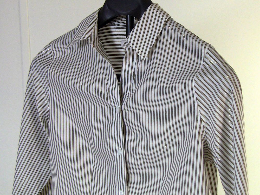 Chicos Shirt White w/ Gold Shiny Stripe and Black Stripe Button Up Size 0 #Chicos #ButtonDownShirt #Casual