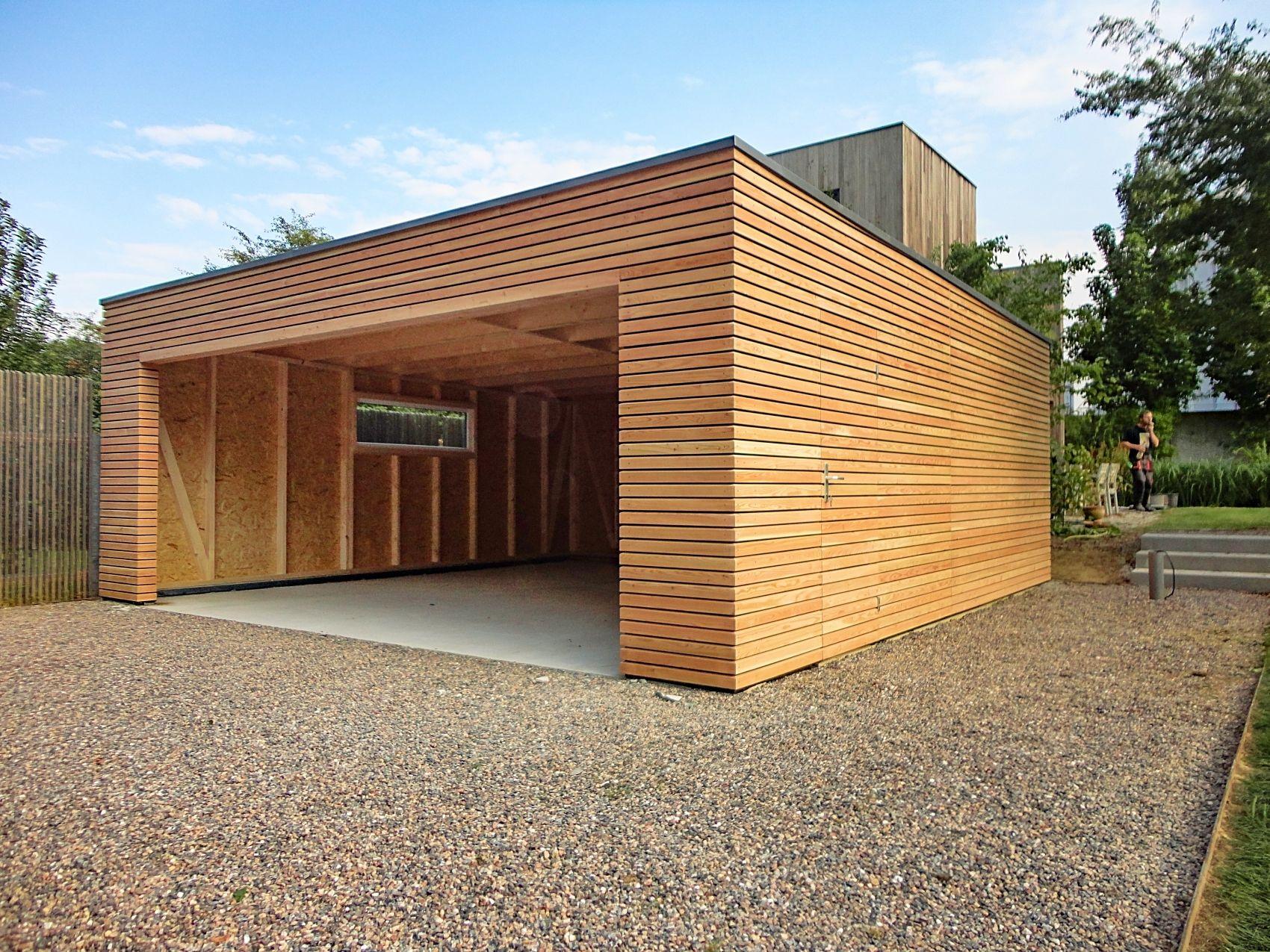 Montierte Garage Lärche Holzgarage, Doppelgarage