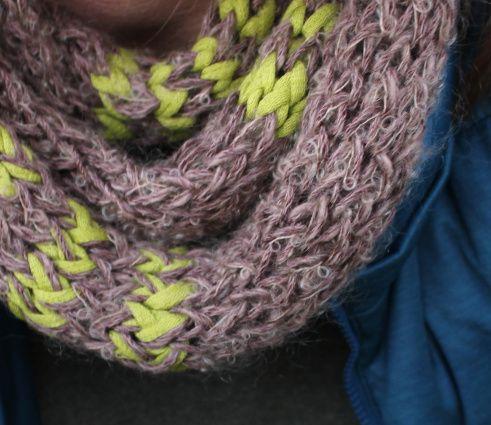 Popsicle Stick Spool Knit Infinity Scarf