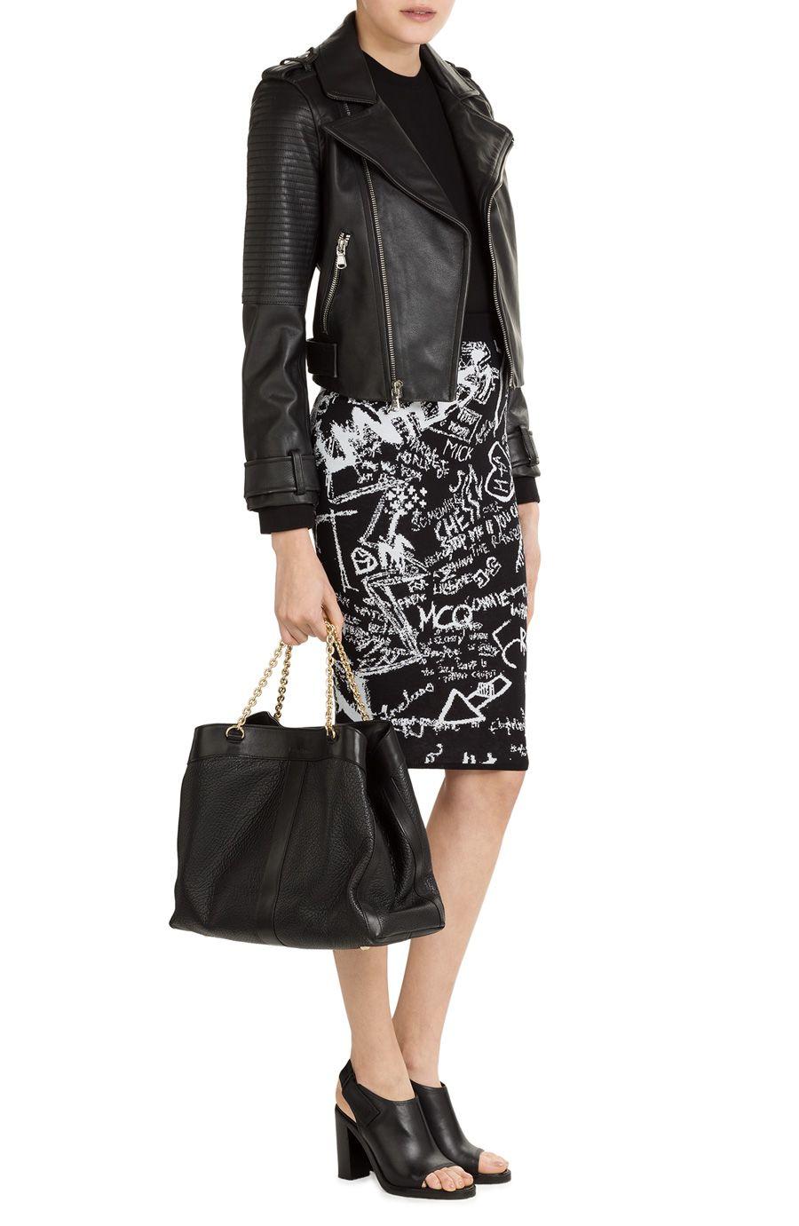 Stretch Intarsia graffiti Skirt