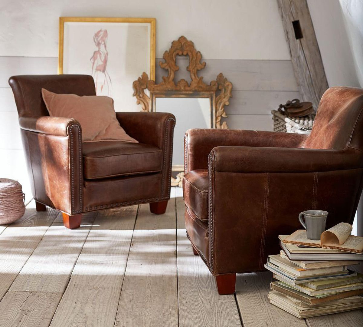 Etonnant Irving Leather Armchair With Nailheads