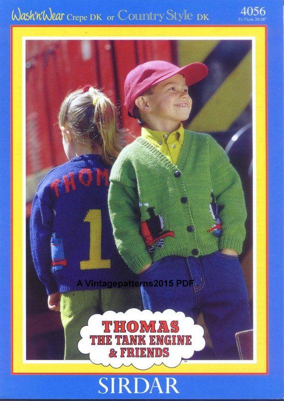 Thomas The Tank Engine Cardigan Knitting Pattern 6 Months 8 Years Dk