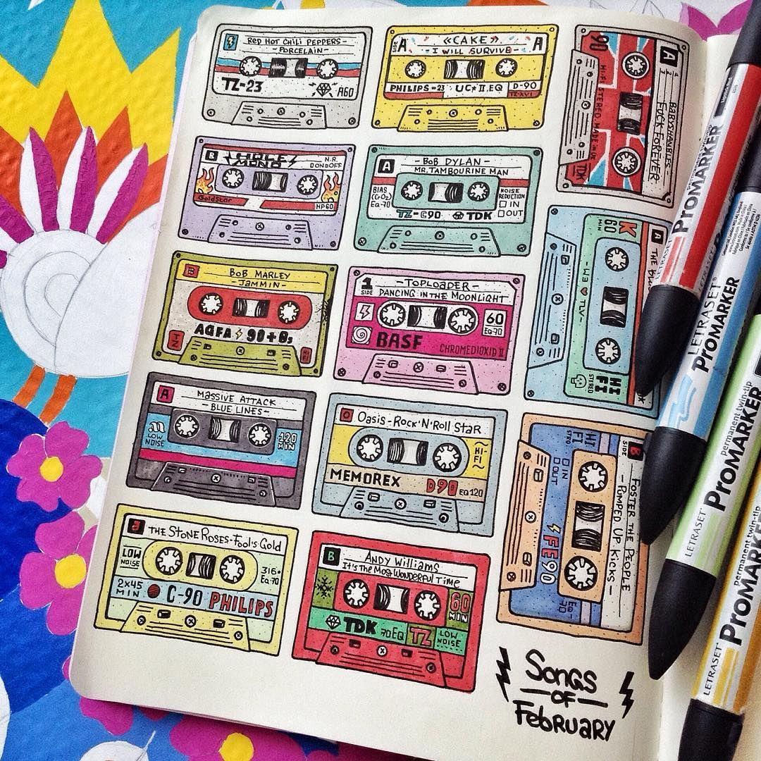 #TomatoZero #songsoffebruary #cassette #tape #audio #promarker #handdrawn #colors