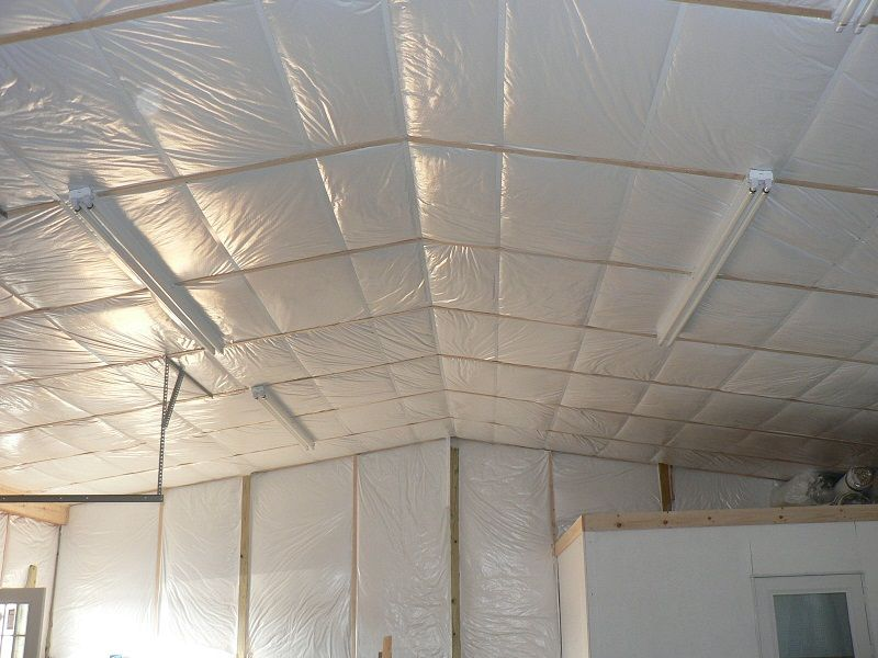 Pole Building Insulation W Gymguard Facing Installed In Scissor Truss Roof And Walls Call