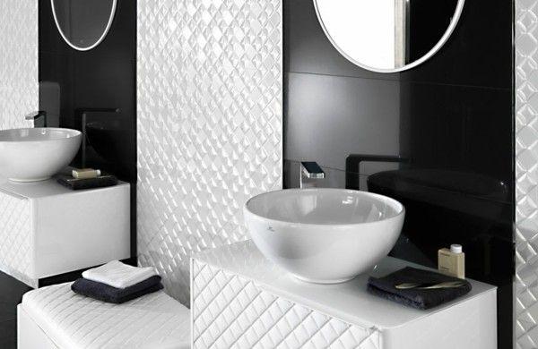 modernes badezimmer weiß schwarz interieur waschbecken Bad Pinterest