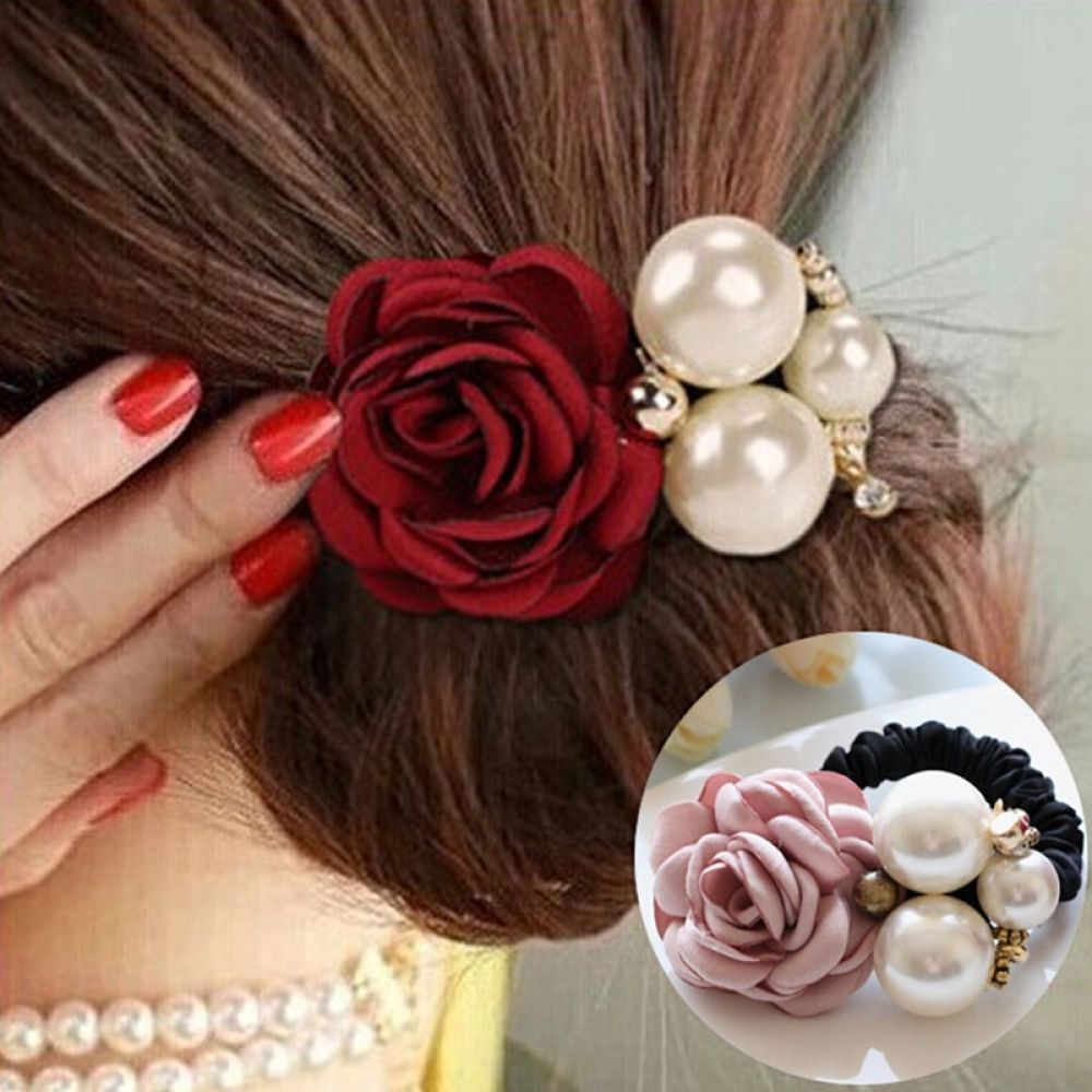 Blume und simulierte Perle elastische Stirnband Haar Gummi für Frauen Mode!