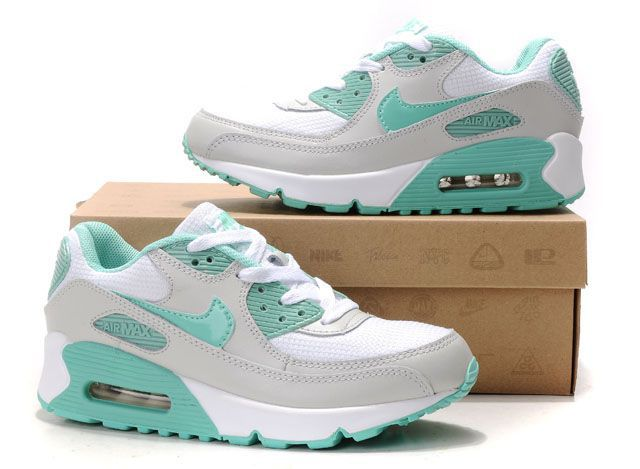 Nike Air Max 90 Womens Shoes Wholesale White Gray Green ...