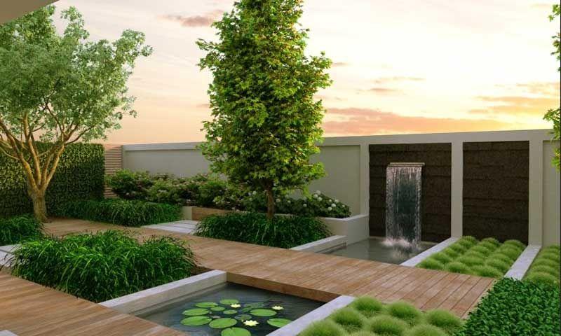 folgende dieses moderne gartengestaltung beispiele dass inklusive installation wasserfall wand led beleuchtung und kleinen teich dekoration - Moderne Gartengestaltung
