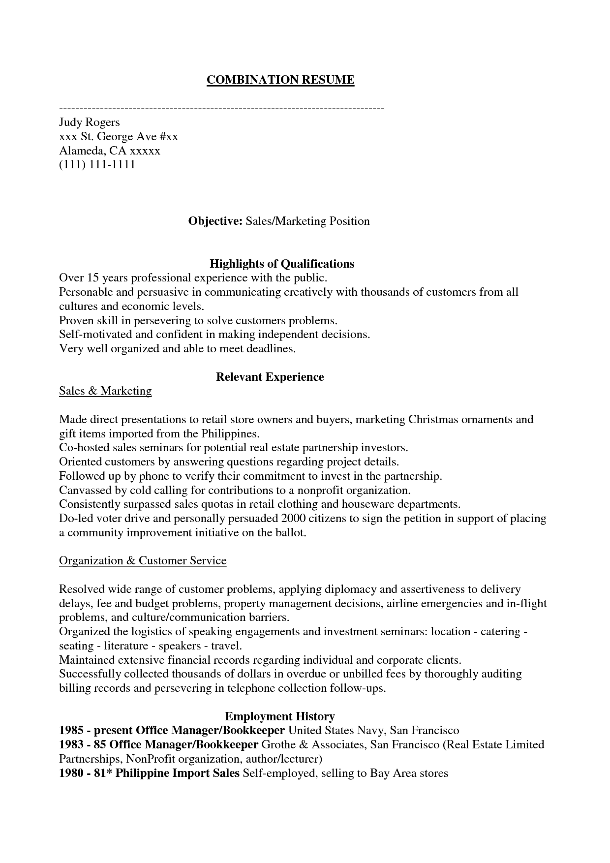 Combination Resume Example Ate Students  Home Design Idea