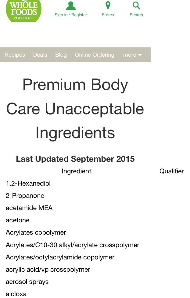 Things to avoid: Alphabetical list of ingredients not allowed in Whole Foods' Premium Body care products.