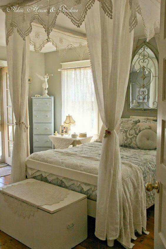 Romancing the bedroom me like lacey canopy above bed looks lot
