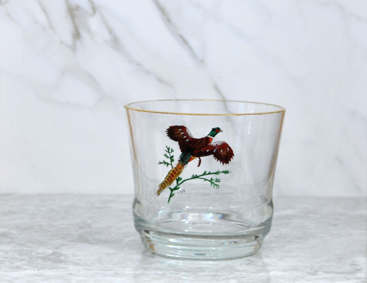 Captivating Vintage Ring Necked Pheasant Glass Ice Bucket   Barware   Game Bird   Canada    North