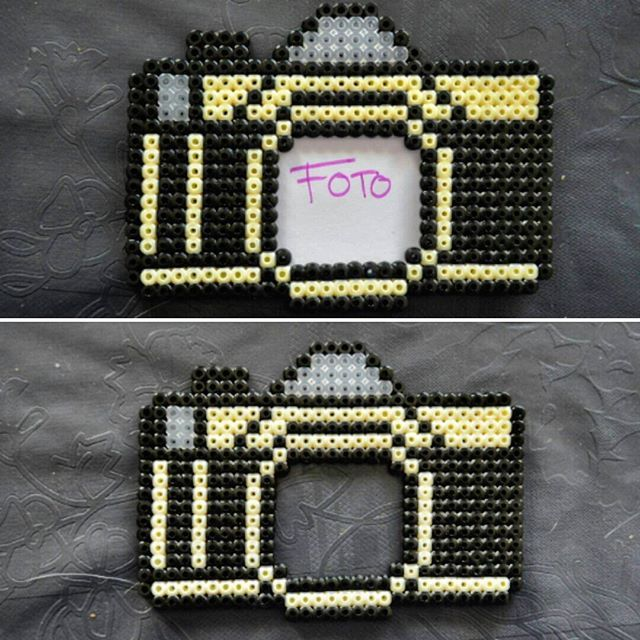 Camera picture frame hama beads by ludka mor | Perler Beads