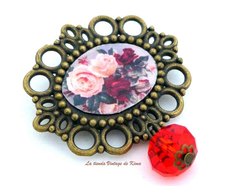 Broche cuenta roja REF. 14 de La Tienda Vintage de Kima por DaWanda.com