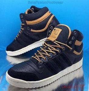 new product ce8fc e9bc2 adidas-Originals-Mens-sz-8-Black-Tan-Top-Ten-Hiking -Boot-Denim-Leather-42-US-8-5