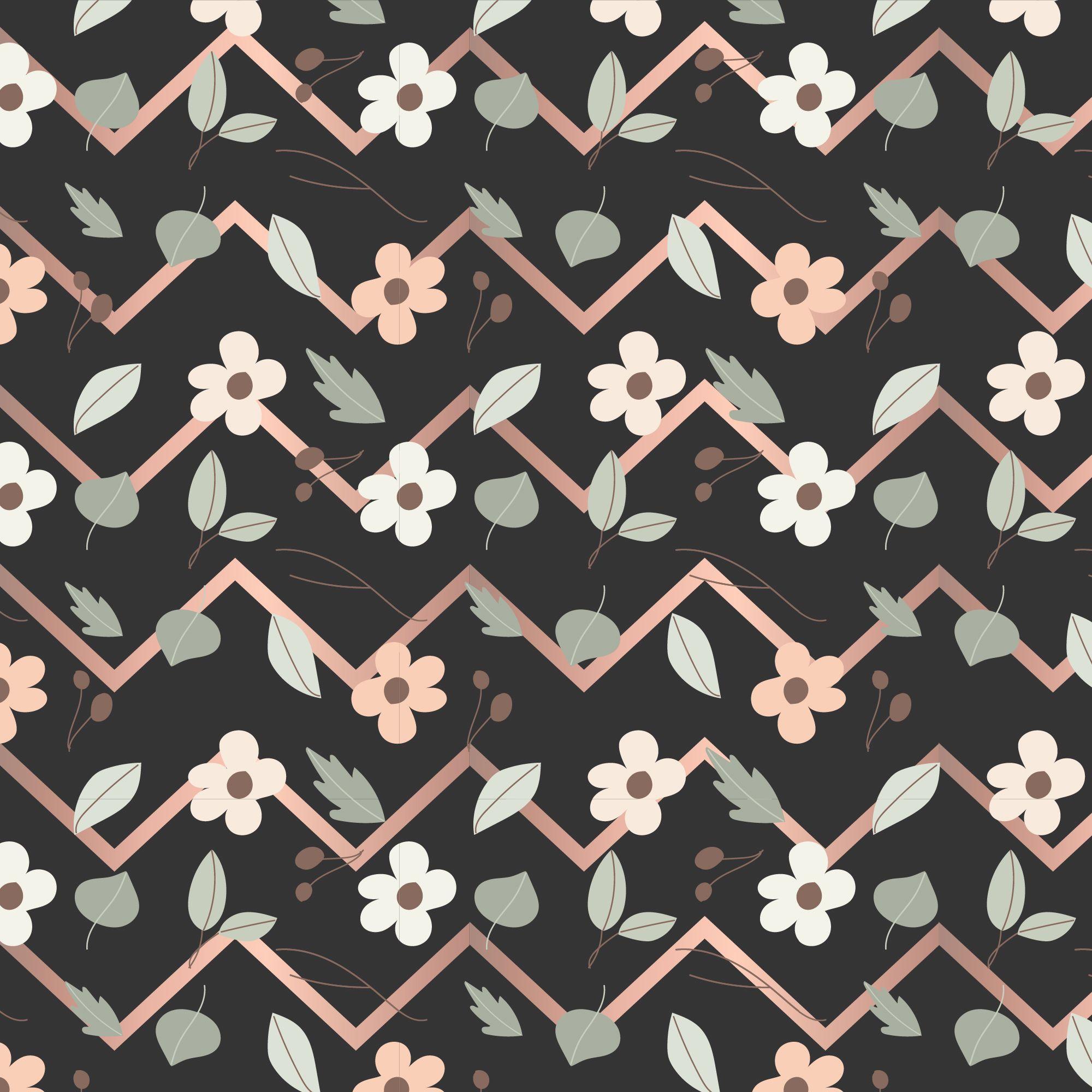 wallpaper chevron black flowers; chevron rose; rose gold