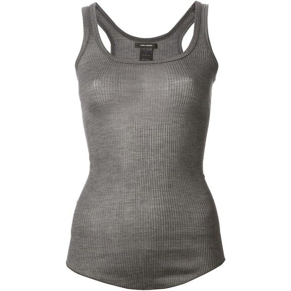 ISABEL MARANT sleeveless top ($165) ❤ liked on Polyvore featuring tops, grey tank top, grey top, silk top, ribbed tank top and ribbed tank