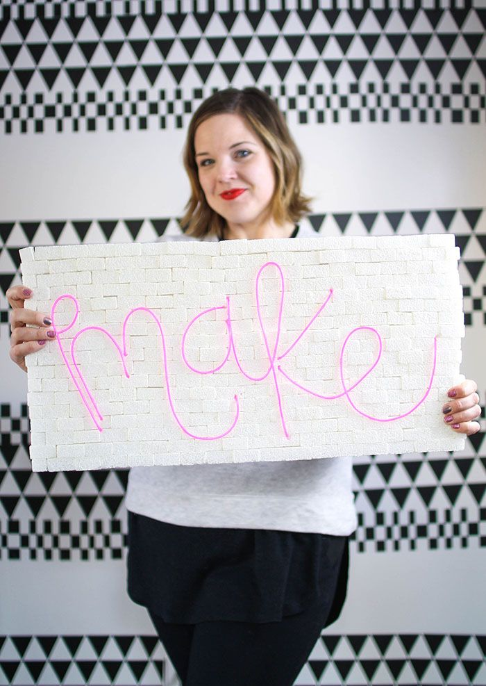 How to Make a DIY Brick & Neon Sign with EL Wire | Bricks, Neon and ...