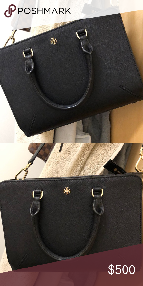 5512d7c14eb2 Tory Burch Robinson saffiano black Robinson zip tote black saffiano leather  satchel Tory Burch Bags Satchels
